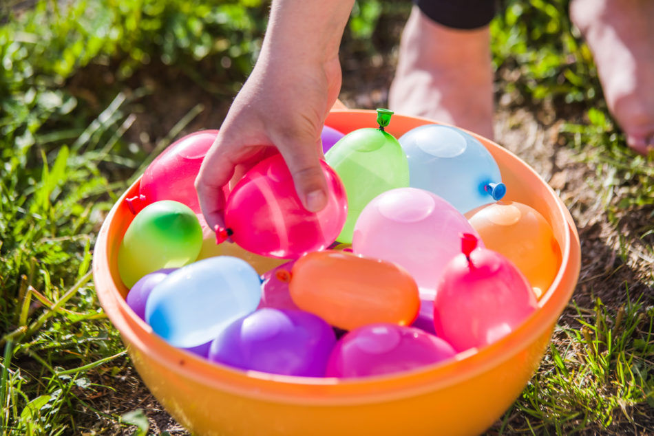 colorful water bombs in summer